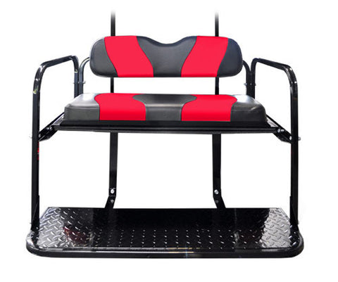 Two Tone Rear Flip Seat Kit with Black/Red Two Tone Cushion Set