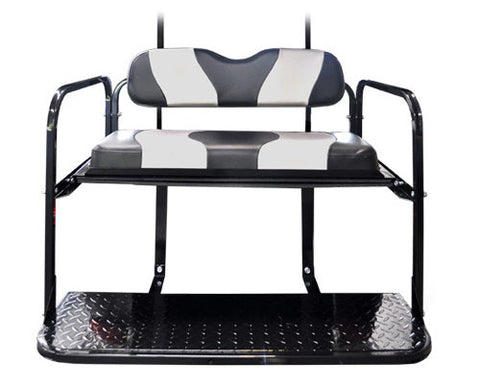 Rear Flip Seat Kit with Black/Silver Two Tone Cushion Set