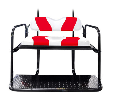Rear Flip Seat Kit with White/Red Two Tone Cushion Set