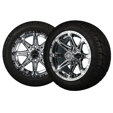 ELEMENT 12x7 Chrome Wheel with 215x40-12 Viper Street Tire Madjax