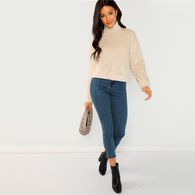 Apricot Elegant High Neck Faux Fur Sweater
