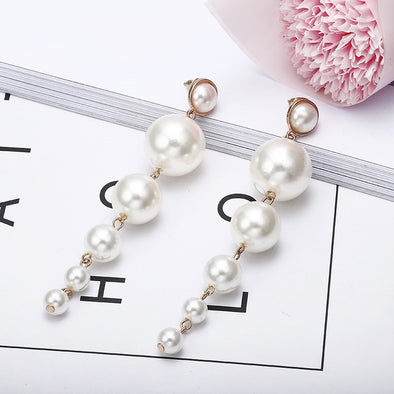 Trendy Elegant Big Simulated Pearl Earrings