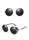 BLACK ROUND SUNGLASSES WITH SIDE SHIELDS