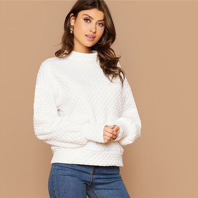 White Button Back Lantern Sleeve Sweater
