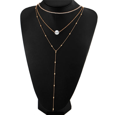 Crystal Multi Layer Long Choker Necklace