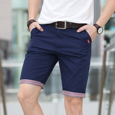 PLAID RUCHED HEM SHORTS