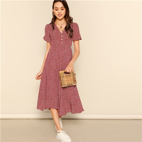 Button Front Allover Print V-Neck Dress