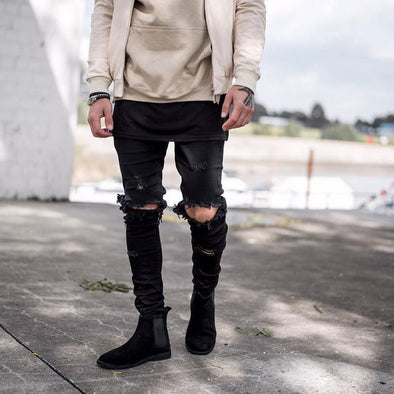 HIP HOP RIPPED SKINNY JEANS