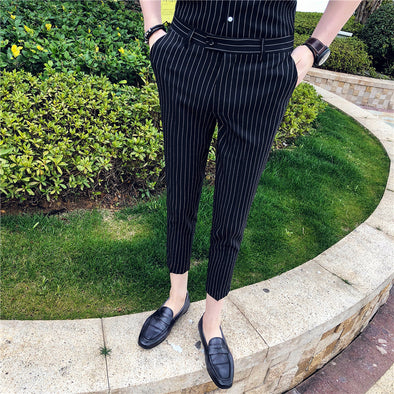 STRIPED SKINNY FIT PANTS