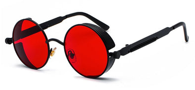 RED LENS SUNGLASSES WITH BLACK FRAMES
