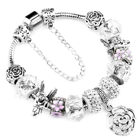 Crystal Flower Beaded Bracelets