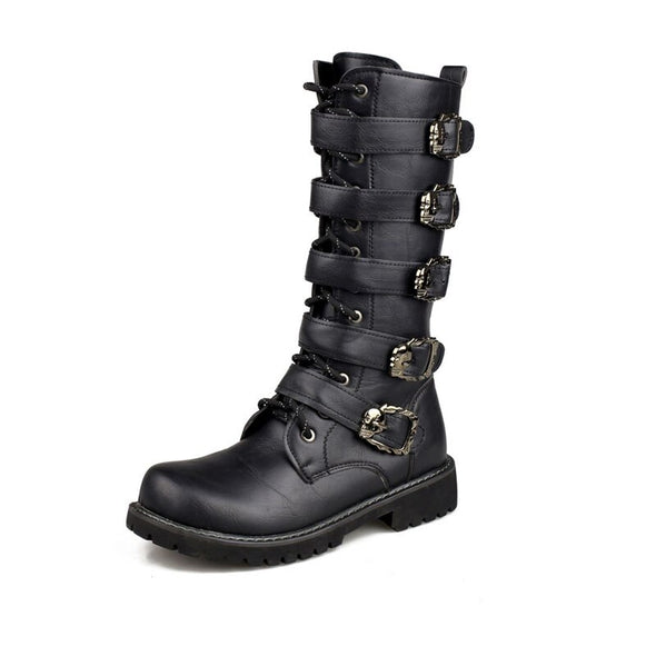 HIGH PUNK MID CALF BOOTS WITH METAL BUCKLE