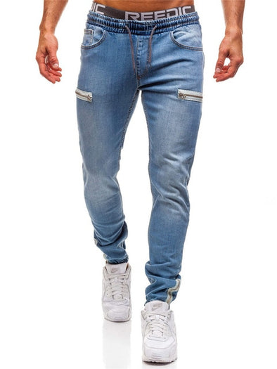 STRETCHY SLIM FIT JEANS WITH ZIPPER POCKET
