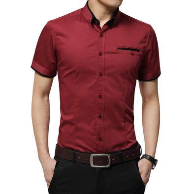 SHORT SLEEVE TURN DOWN COLLAR SHIRT