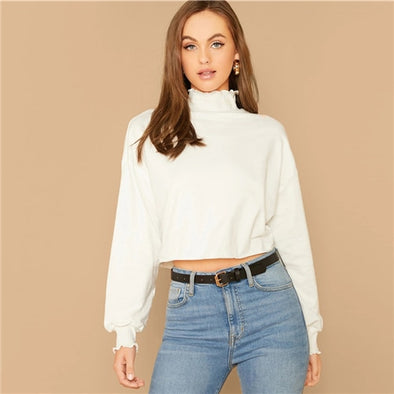 White Lettuce Trim Lantern Sleeve Sweater