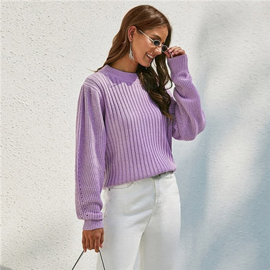 Purple Ribbed Knit Bishop Sleeve Sweater