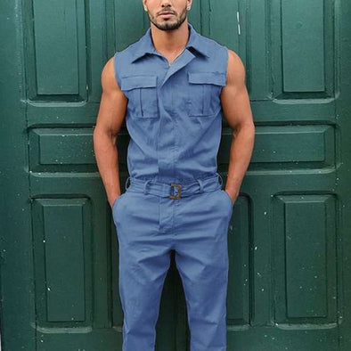SLEEVELESS CARGO JUMPSUIT