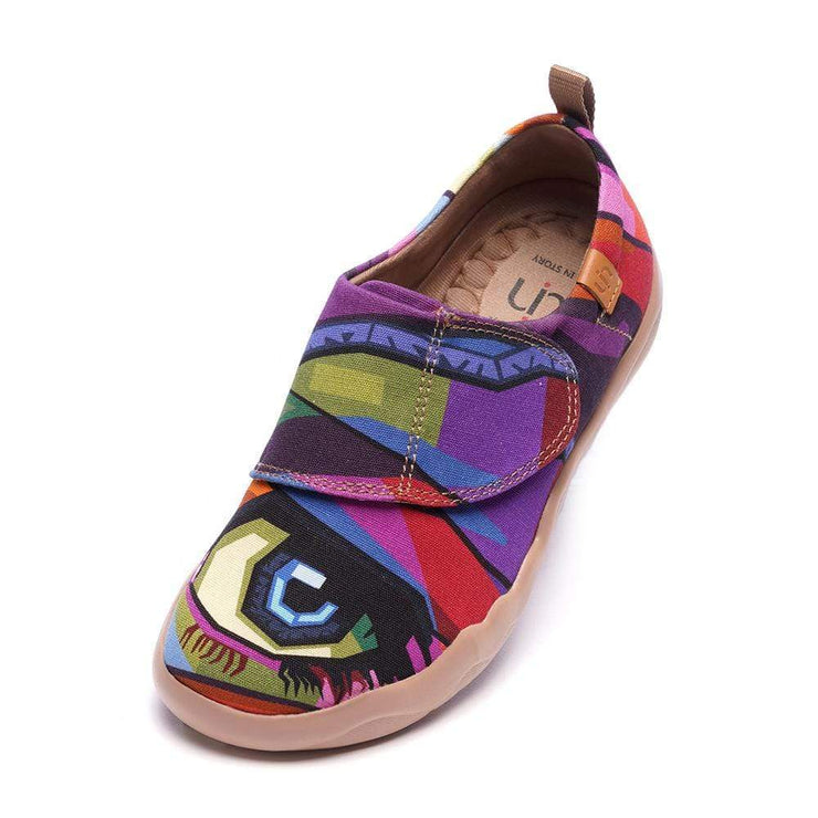 UIN Footwear Kid -Looking at You- Modern Art Painted Kids Casual Shoes Canvas loafers