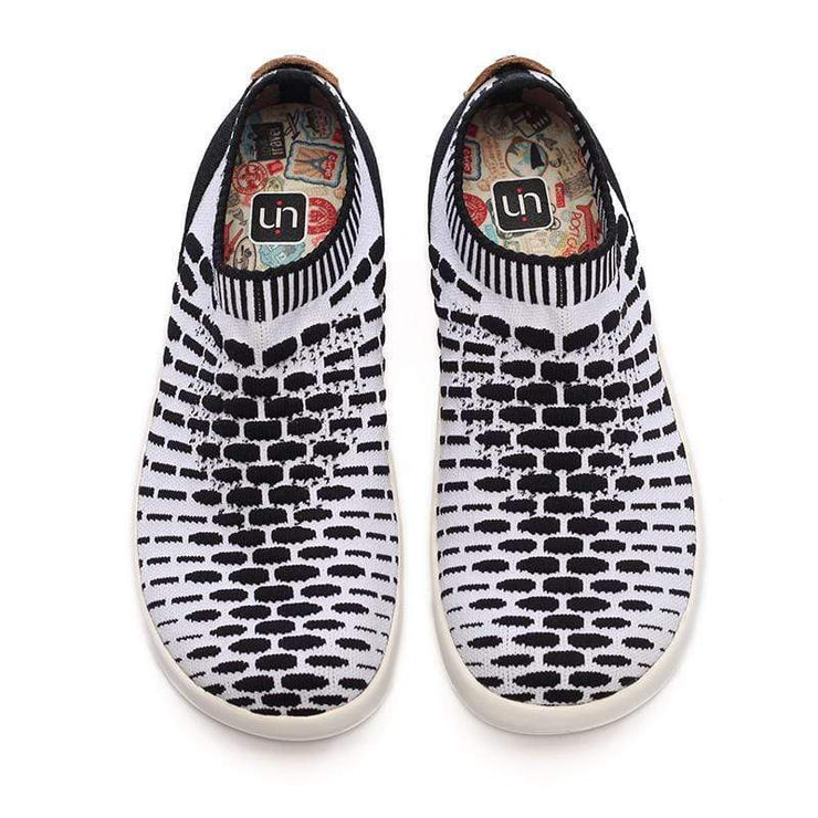 UIN Footwear Kid Sicily Black & White Canvas loafers