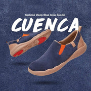 UIN Footwear Men (Pre-sale) Cuenca Deep Blue Cow Suede Canvas loafers