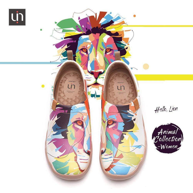 UIN Footwear Women -Hello, Lion- Multicolored Microfiber Leather Female Flats Canvas loafers