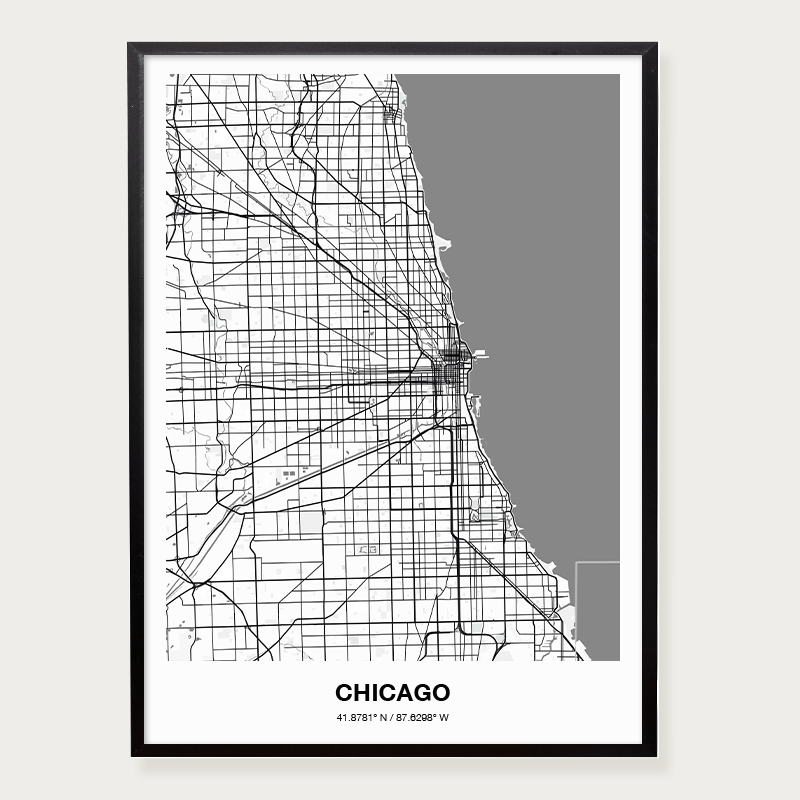 Plakat mapa Chicago