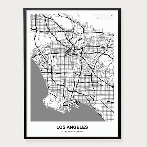 Plakat mapa Los Angeles
