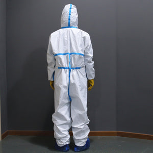 Disposable Protective Gowns One Time Waterproof Oil-Resistant Protective Suit Coverall with Hood Chemical Suit Light Weight Elastic Cuffs