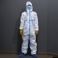 Load image into Gallery viewer, Disposable Protective Gowns One Time Waterproof Oil-Resistant Protective Suit Coverall with Hood Chemical Suit Light Weight Elastic Cuffs