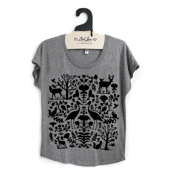 Gray Dolman Top with Folk Design