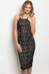 Open Back Black Lace Dress