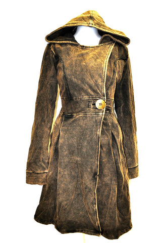 Stone Washed Hooded Coat