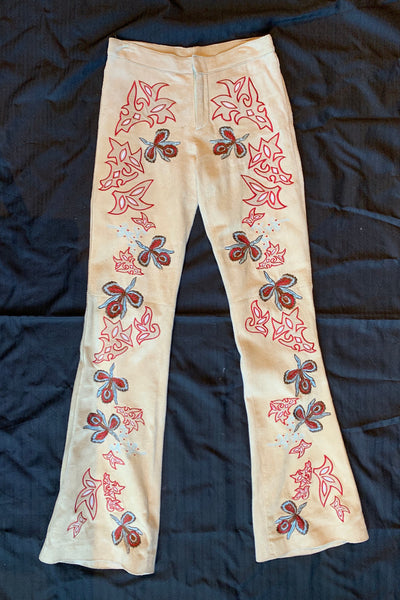 VINTAGE Suede Floral Embroidered Pants