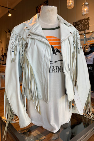 VINTAGE Schotts White Fringe Leather Jacket
