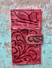 Handtooled Leather Wallet w Cell Phone Pocket