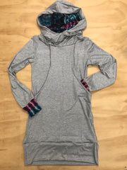 Pocket Hoodie Dress in Heather Grey