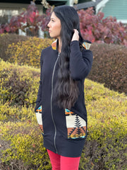 Northwest Zip Up Hoodie, locally made from Pendleton Wool and Organic Cotton