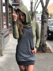 Pocket Hoodie Dress with Rythmatix Print