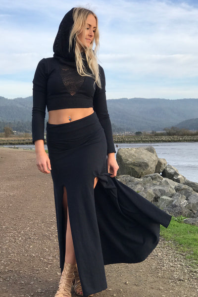 Sacred Empire Hemp Maxi Skirt with Slits