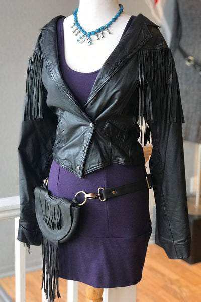 VINTAGE Black Leather Jacket with Fringe and Conchos