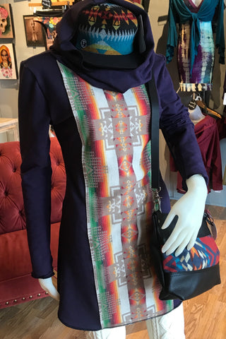 Organic Cotton Hoodie Dress with Pendleton Weaving in plum.