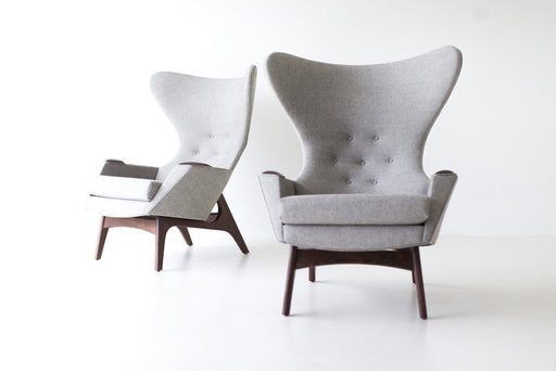 Craft Associates® Modern Wingback Chairs in Grey Wool