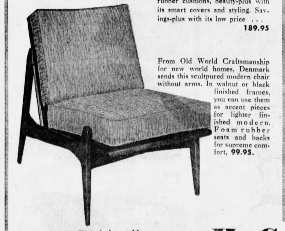 Lawrence Peabody Danish Line Armless Lounge Chair for Selig