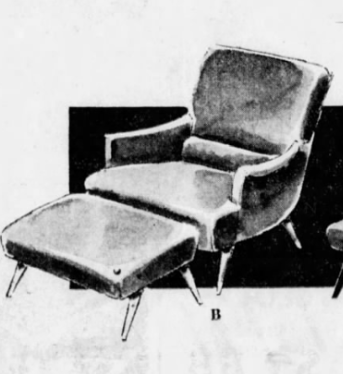 Lawrence Peabody Scoop Arm Lounge Chair and Ottoman for Selig