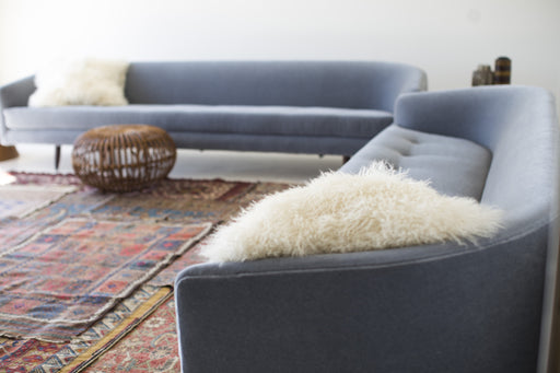 Modern Sofa - 1408 - In Grey Mohair - The Cloud