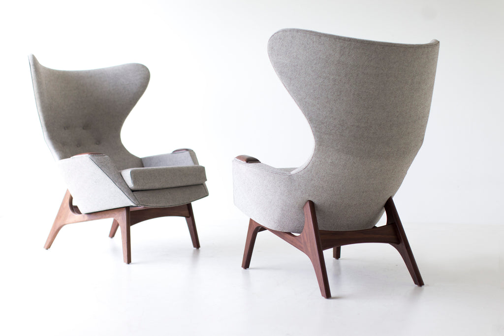 Craft Associates Modern Wingback Chairs in Grey Wool craft