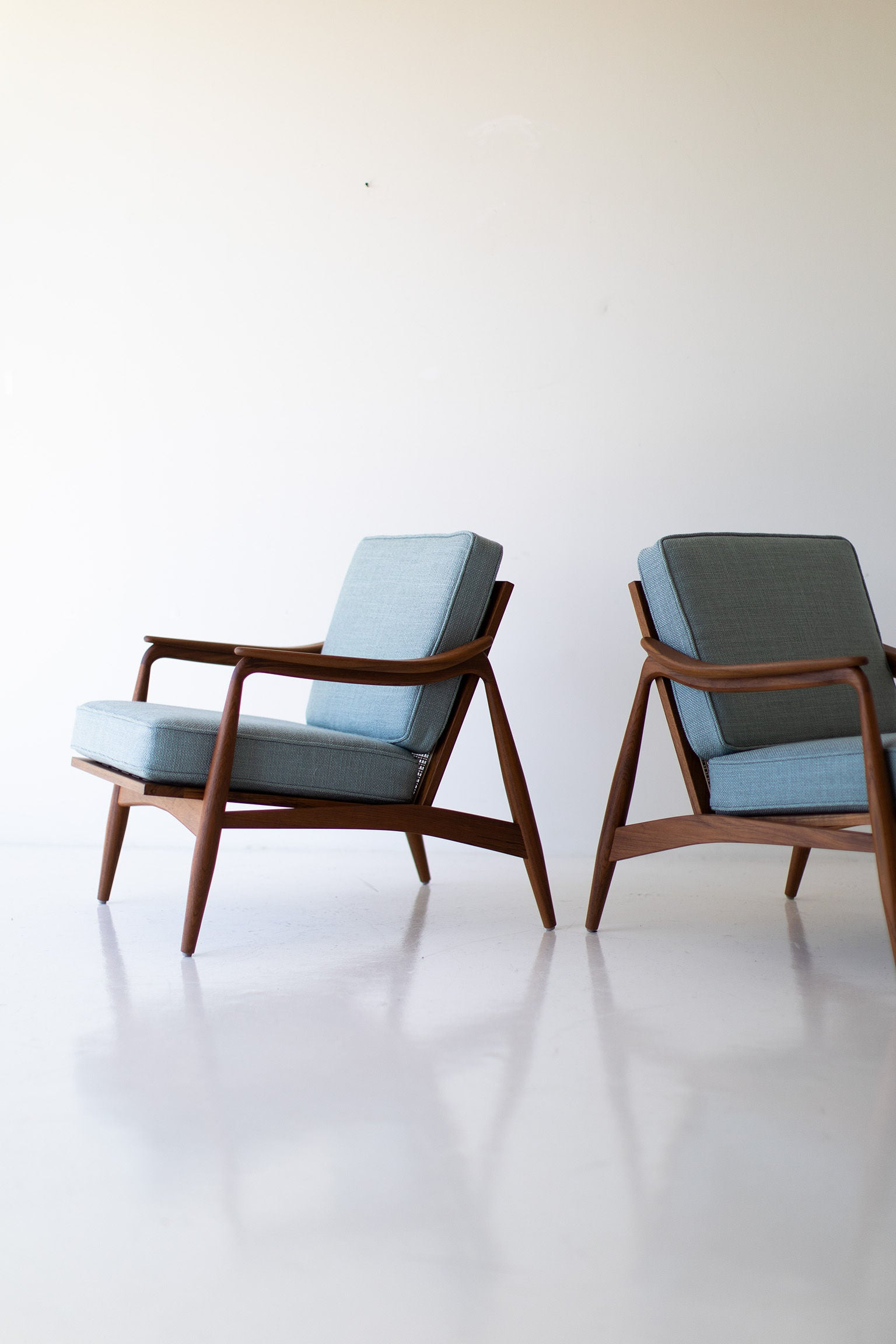 Lawrence Peabody Cane Back Teak Lounge Chairs - 2001P
