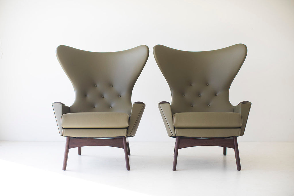 Excellent Green Leather Wing Chair 1407 Craft Associates Camellatalisay Diy Chair Ideas Camellatalisaycom