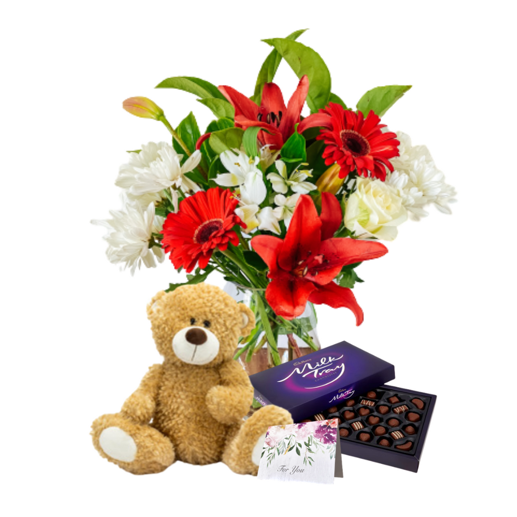 Medium Red & White Flower Bundle!