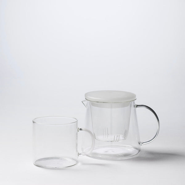 Glass Tea Pot w Frosted Lid